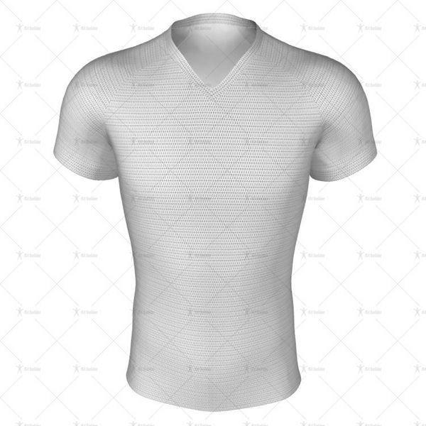 Mens Pro-Fit Football Shirt V-Neck Collar Front View