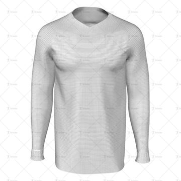 Mens LS Raglan Football Shirt V-Neck Collar Front View