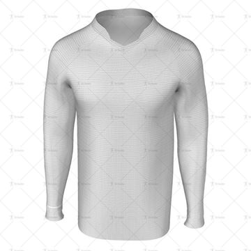 Double V Collar for Mens LS Raglan Football Shirt Front View