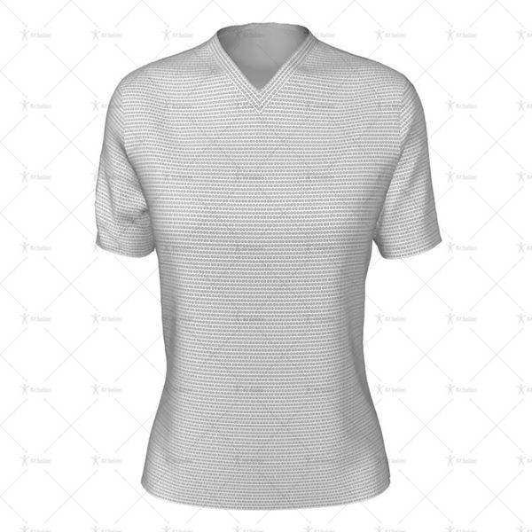 Womens SS Inline Football Shirt V-Neck Collar Front View