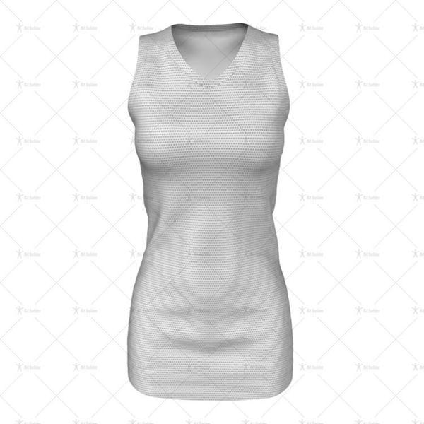 Womens Netball Bodysuit  V-Neck Collar Front View