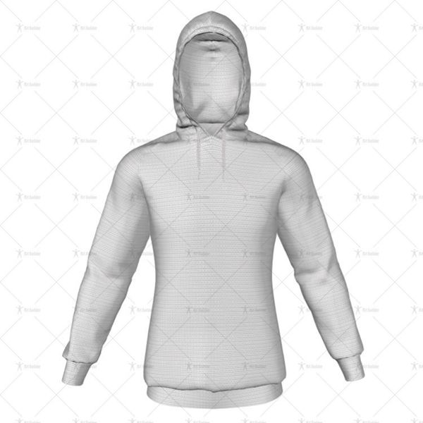 Mens Raglan Hoodie Hood Up No Pocket Front View