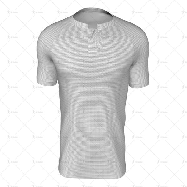 Grandad Collar For Mens SS Raglan Football Shirt Front View