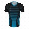Mens SS Inline Football Shirt V-Neck Collar Front View Design